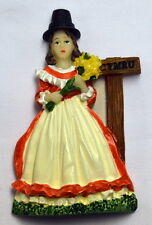Standing WELSH LADY with DAFFS design FRIDGE MAGNET,  Wales / Cymru
