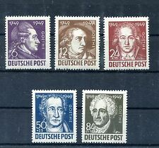 GERMANY SOVIET OCCUPATION ZONE 1949 GOETHE PORTRAITS 10NB6-10NB10 PERFECT MNH