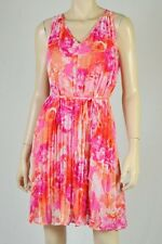Nwt $148 Vince Camuto V-Neck Pleated Sleeveless Belted  Dress Top Pink Floral *6