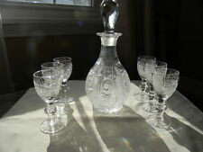 BOHEMIAN CZECH HAND CUT QUEEN CRYSTAL DECANTER & LIQUOR GLASSES Beautiful A+