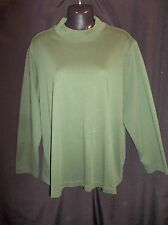 CJ BANKS Hunter GREEN KNIT Long Sleeve Mock Turtle Top Blouse Women's Size 2X
