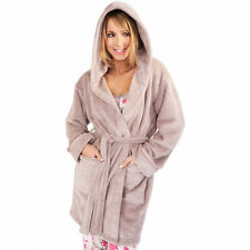 ladies TAUPE super soft fleece hooded bath robe night gown uk size L(16-18)