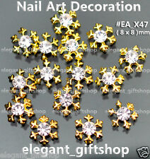 10pcs Christmas Snow Flake Gold Alloy Jewelry 3D Nail Art Tips Decoration#EA_X47
