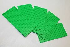 LEGO MiniFigure Base Plate 8x16 Green - LOT of 5 - Thin Small Stud Brick Table