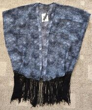 Womens Size S/M Black & Gray Print Sheer Tunic Swimsuit Coverup Top 4395-679