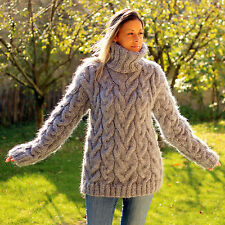 ❤ EXTRAVAGANTZA ❤ GRAY Hand Knitted Mohair Sweater Fuzzy Thick Dress M L XL