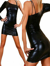 Sexy Black Faux Latex Dress One Shoulder Matching Thong Clubbing