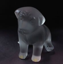 Lalique Chien Chiot Sitting Dog Puppy Frosted Crystal Glass Figurine