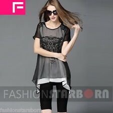 fSb Imported Women Chiffon Mesh Patchwork Printing Long Top