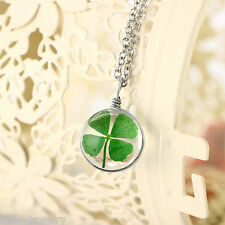 1 Halskette Halsschmuck Kleeblatt Anhänger Rund Glas Versilbert Geschenk 60cm