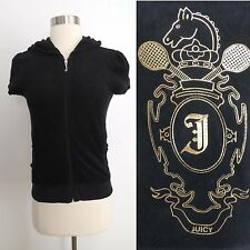 Juicy Couture size SMALL black hooded sweatshirt with gold metallic graphic back
