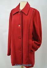 Cxt Classics Womens Red Wool Blend Knee Length Coat Winter Jacket trench 18 NEW