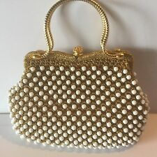 Vintage Gold Woven Thread White Faceted Beads Handbag Purse Metal Handles