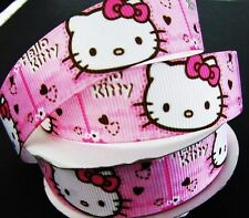"10 yards Pink Hello Kitty Head Grosgrain 7/8"" Ribbon/Craft/Bow/girl/Party RY-12"