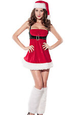 Sexy Women's Christmas Santa Doll Envy Fancy Dress Costume with Hat