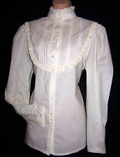 Laura Ashley Vintage Victorian ivory blouse pintuck yoke lace high collar 14 UK
