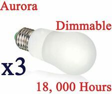 3 x Aurora Energy Saving 8W Dimmable Light Bulb GLS CFL Lamp E27 ES Warm White