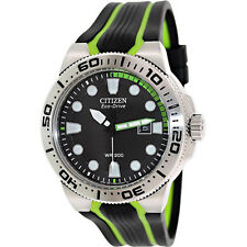 New Mens Citizen Scuba Fin Eco-Drive Black Green Dial 45mm 200m Watch BN0090-01E