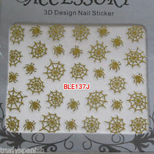 Halloween Nail Art Stickers Decals Decorations Metallic Gold Spiders webs