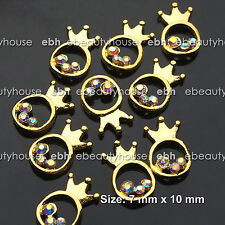 10 PCS 3D Nail Art Gold Crown Ring Alloy Rhinestone Decoration #EJ-226