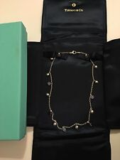 Auth Tiffany & Co Moonstone, Amethyst, Silver Beads Necklace 925 Rare