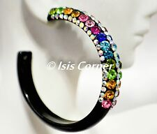 "2.5"" STATEMENT BLACK COLOR HOOPS MULTICOLOR RHINESTONE FASHION BLING EARRINGS"