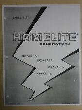 HOMELITE GENERATOR PARTS MANUAL 151A15-1A 152A27-1A 153A35-1A 155A50-1A # 24723