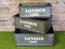 S/3 Industrial Furniture Metal Storage Boxes Crates Vintage London England 1968