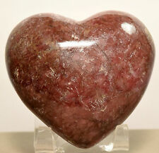 """2.6"""" Rhodonite Puffy Heart Rich Pink Polished Mineral Palm Crystal Stone - China"""
