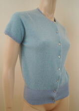 BRORA SCOTTISH CASHMERE Baby Blue & Lilac Striped Short Sleeve Cardigan UK12
