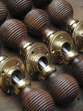 8 Victorian Style Rosewood Beehive Door Knobs brass old edwardian style wooden.