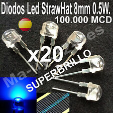 x20 Led strawhat (8mm) 0.5W. Luz Azul Blue SUPERBRILLO + Resistencias Arduino