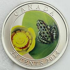 Canada 2014 Water-lily and Leopard Frog 25-Cent Color Specimen Coin - 17,500