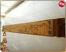 Chinese Ancient picture silk paper Hundred Horse Scroll painting