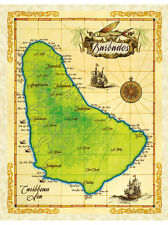 """19.5 x 25"""" Barbados Vintage Look Map Poster Printed on Parchment Paper"""
