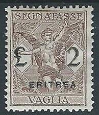 1924 ERITREA SEGNATASSE PER VAGLIA 2 LIRE MH * - G112