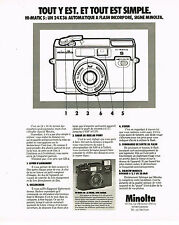 PUBLICITE ADVERTISING 054  1978  MINOLTA  appareil photo HI MATIC  SD