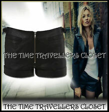 KATE MOSS TOPSHOP BLACK BUTTER SOFT LINED LEATHER HOT PANTS BIKER SHORTS UK10 12