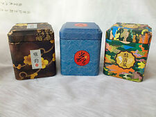 3 JAPANESE BLUE BLACK COLOR S TEA SUGAR COFFEE CANDY TIN CADDY BOX CHINESE PARTY