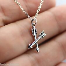 CROSSED ARROWS NECKLACE - 925 Sterling Silver - Archery Bow Arrow Jewelry *NEW*