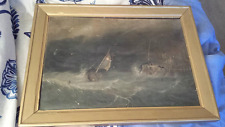 Antique European Seascape oil on canvas of a Ship in Distress, mid 19th century