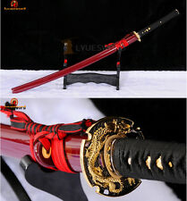 Handmade Samurai Katana Sword Folded Steel Clay Tempered Red Blade Battle Ready