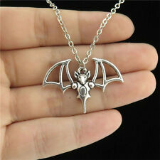 "1-4 18"" Silver Collar Chunky Necklace Child Party 22mm Hollow Animal Bat Pendant"