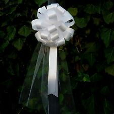6 White Pull Bows Tulle Tails Church Wedding Pew Chair Bench Baptism Decorations