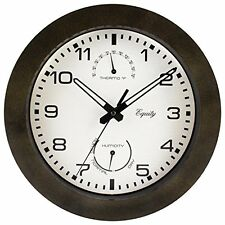 """Equity by La Crosse 29005 Outdoor Thermometer and Humidity Wall Clock,10"""", Brown"""