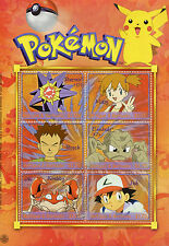 Antigua & Barbuda 2001 MNH Pokemon 6v M/S Ash Misty Brock Krabby Geodude Stamps