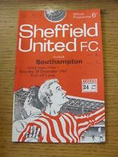 30/12/1967 Sheffield United v Southampton  (Match Details Noted On Cover & Insid