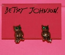 Betsey Johnson Green Eye Owl Stud Earrings