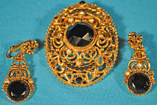 FABULOUS 1950's SIGNED FLORENZA ORNATE LARGE BLACK GLASS BROOCH AND EARRING SET