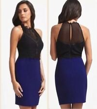 Lipsy Michelle Keegan Navy Blue Lace High Neck Size 16 18 Party Wigle Dress Xmas